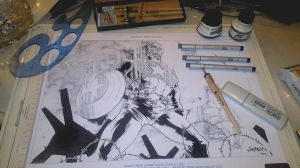 Inking Process Cpt. America 3 by DaveLungArt