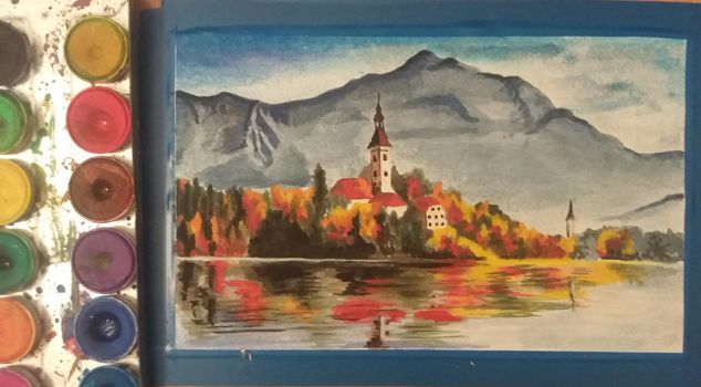 Aquarelle Painting: Autumn by the Lake by Layllaa
