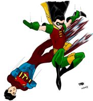 Robin III and Superboy by caffeinefiend