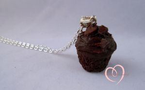 Scented Chocolate cupcake necklace by ilikeshiniesfakery