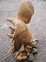 Eagle with salmon3 by woodcarve