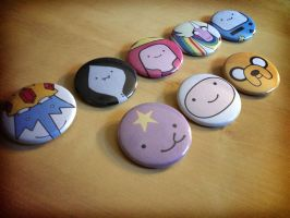 Adventure Time Pinback Buttons - Finn and Friends by Monostache
