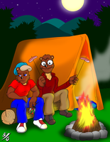 Dr. Theo Atkins and Son at Camp by 50percentgrey