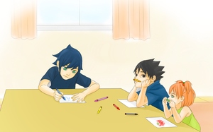 SasuSaku Family : drawing birthday cards by steampunkskulls