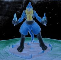 Lucario used Aura Spear by DracoRex1890
