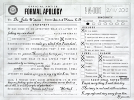 Formal Apology - Sherlock to John by watermelemon