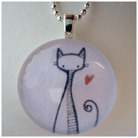 Minimalistic Cat Pendant by cellsdividing