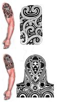 Tribal shoulder-arm tattoo design by thehoundofulster