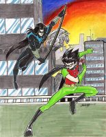 Nightwing v Robin by slifertheskydragon