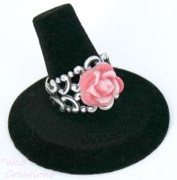 Ombre Pink Resin Rose Ring by kelleejm1