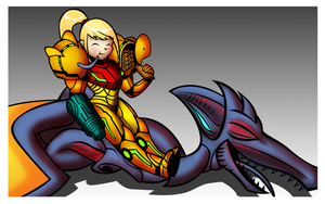 Life is good for Samus Aran by OmegaSunBurst