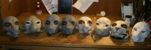 Pile o' Masks in Progress by Qarrezel