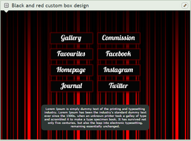 Red and black striped custom box design by TaNa-Jo