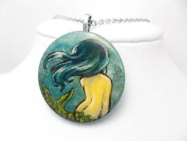 Turquoise Haired Mermaid - Pendant Necklace by sobeyondthis