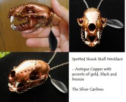 Steampunk Skull Necklace with Accents of 14k Gold by TheSilverCaribou
