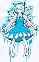 Cirno fanart by me by woodncarbon