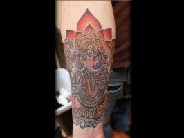 Indian Elephant Deity Tattoo by seanspoison