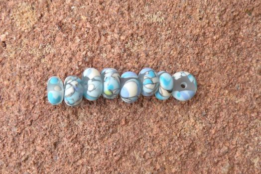 Icy River Blues- lampwork glass bead set of 8 by cinderspritzer
