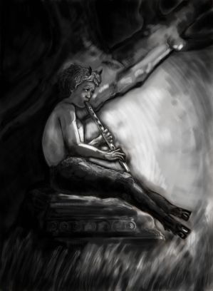 Faun playing a flute.
