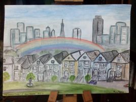 The Painted Ladies of Alamo Square by PeteDamian