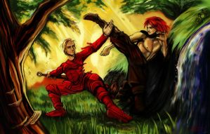 Tempi fights Kvothe by ShallowGrin
