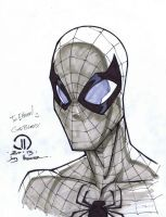 Spidey copic head sketch by JoeyVazquez