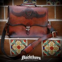 Celtic Wings Laptop Bag by Blackthornleather