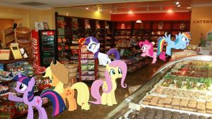 Mane 6 At The Candy Store by Macgrubor