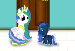 Baby Luna and young Celestia by SilverRose-27