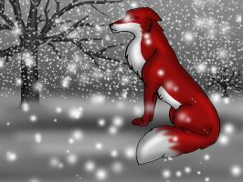 Lady Fox crying in the snow by OnlyMyDraws