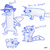 Perry The Platypus sketches by Mammal33