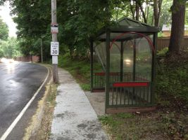 A Pine Green Bus Stop with a Hint of Brick Red by KlarkKentThe3rd