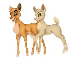 Simba and Nala Bambified by Professor-R