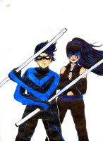 Nightwing and Nyght Shadow by Kamico