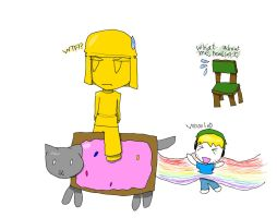 Giant Stephano Riding A Nyan Cat by oricol