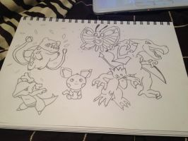 My Pokemon Team Sketch by Megalomaniacaly