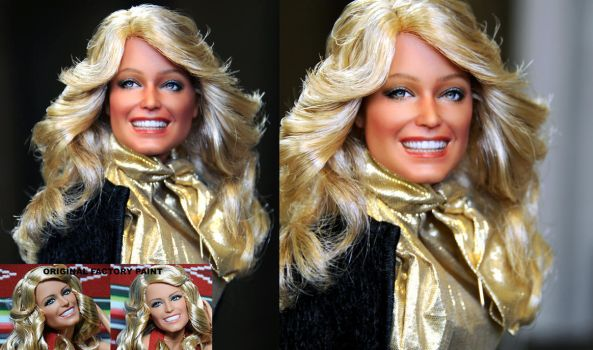 Farrah Fawcett custom doll repaint by noeling