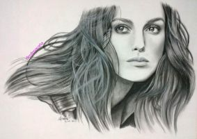 Keira Knightley charcoal portrait by cLoELaLi11