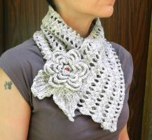 Fantasy lace crochet scarf with flower brooch by YANKA-arts-n-crafts