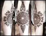 Sharp dotwork mandala by Meatshop-Tattoo