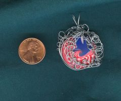 Red White and Silver pendant by Glori305