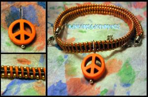 Give Peace a Chance Choker ~Orange/Gold~ by RavingEagleMedia