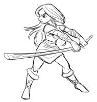 Female Warrior Rough by SuperStinkWarrior