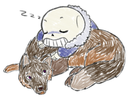 Sleepy Sans found a new pillow by Purly