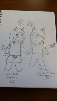 Maria and I as Nekos  by WindDarkGirl