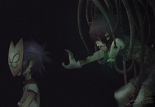 Cyborg vs. Noodle. by 23A-Skidoo