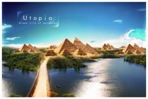 utopia, green city of pyramids by AlexanderFriedl