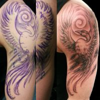 freehand phoenix tattoo by joshing88