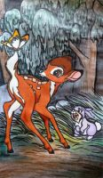 Bambi, Thumper and the Butterfly by LoopyKitty