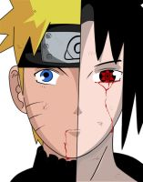Naruto and sasuke colored by BlueBubble-L